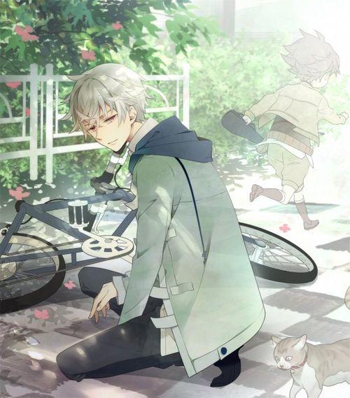 Boy With White Hair Kid Running And Cute Cat Mirai Nikki Anime Guys Cosplay Anime