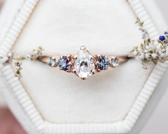 Photo of Moissanite and alexandrite cluster five stone engagement ring, 14k gold sapphire ring, cluster engagement ring, unique engagement ring, oore