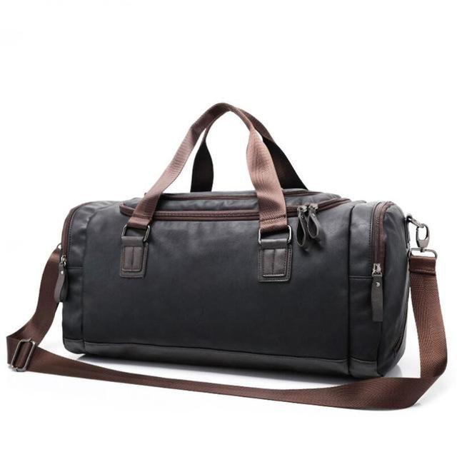 f90663efc7a Men s Large Capacity PU Leather Sports Bag Gym Bag Fitness Sport Bags  Duffel Tote Travel Shoulder Handbag Male Bag Black Brown