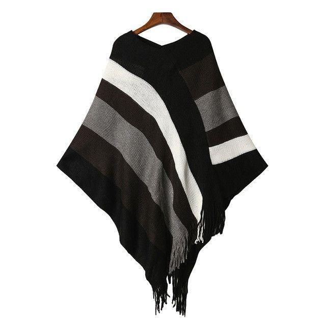 Pull Femme 2017 Autumn Winter Women Tassel Knitted Sweater Poncho Sexy Striped V neck Irregular Hem Casual Loose Pullover Jumper