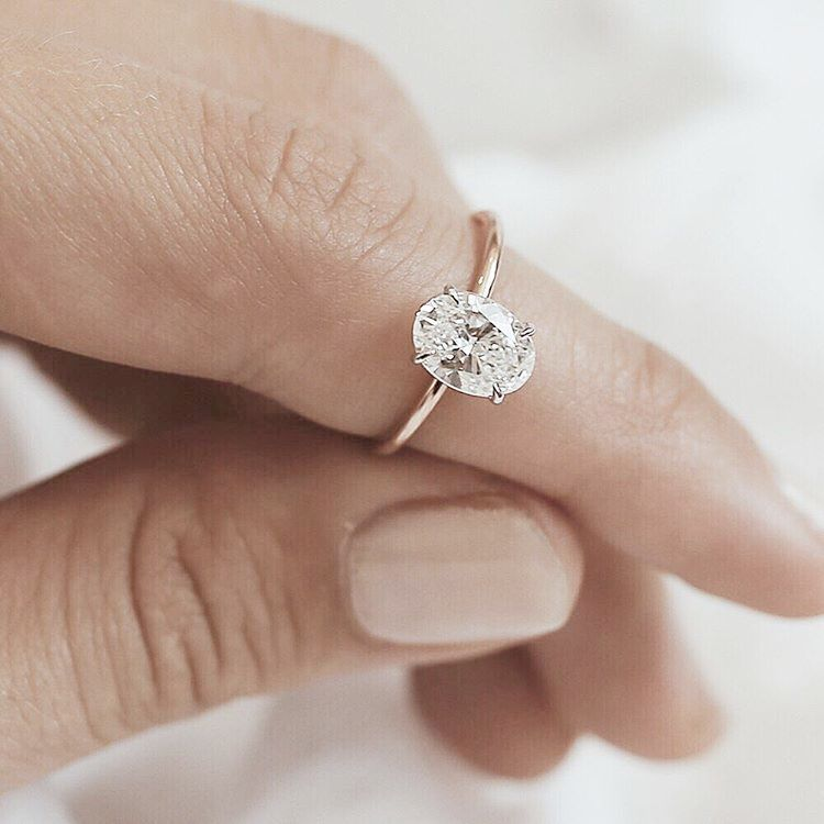 Second Hand White Gold Solitaire Ring Solitaire Engagement Ring Oval