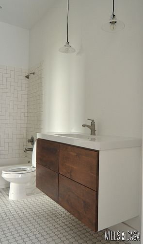 This bathroom is too stink in' cool. Love the tile and the vanity by @Amber @ Wills Casa
