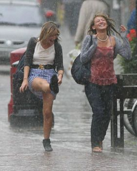 When caught in the rain, how often does one not smile? I ...
