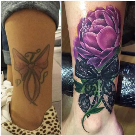 2addcfa13 Tattoos - Cover up Peony and bow - 117777 | Tattoos | Cover tattoo ...