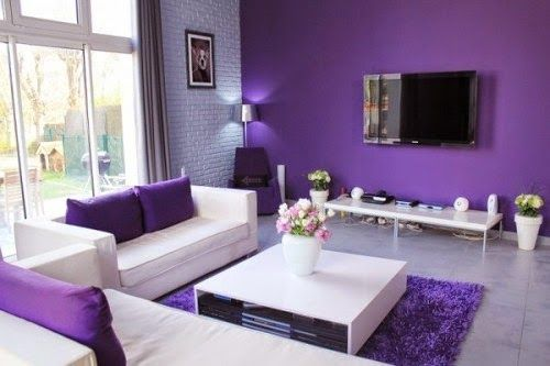 Purple Living Room Love The Brick Accent Wall Otherwise This Is Too Modern For Me Haha