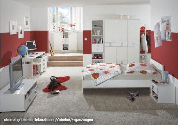 Jugendzimmer 5 Tlg In Alpinweiß Schrank B 135 Cm Bett 90