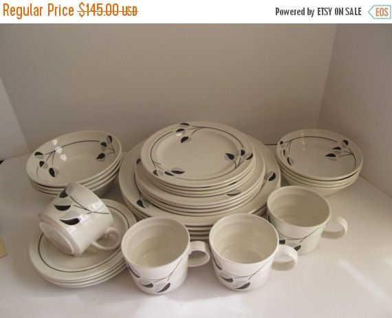 SALE Black Grey And White Dish Set Daily Dining By ReVintageLannie