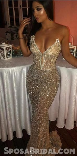 Modest Simple Sparkly Sweetheart Mermaid Sleeveless Sequins Shiny Prom Dresses, evening dresses, PD1286 Modest Simple Sparkly Sweetheart Mermaid Sleeveless Sequins Shiny Prom Dresses, evening dresses, PD1286