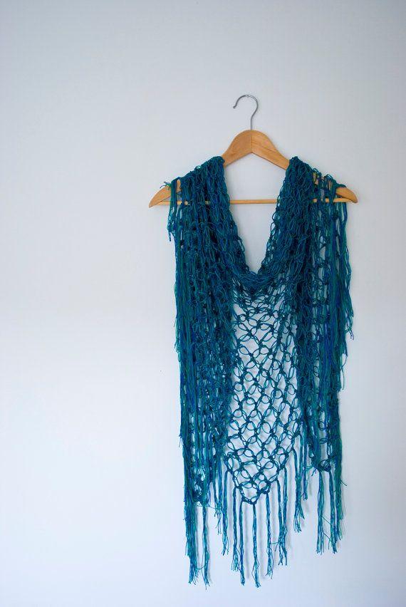 Blue green shawl triangle crochet solomon\'s knot net wrap scarf ...