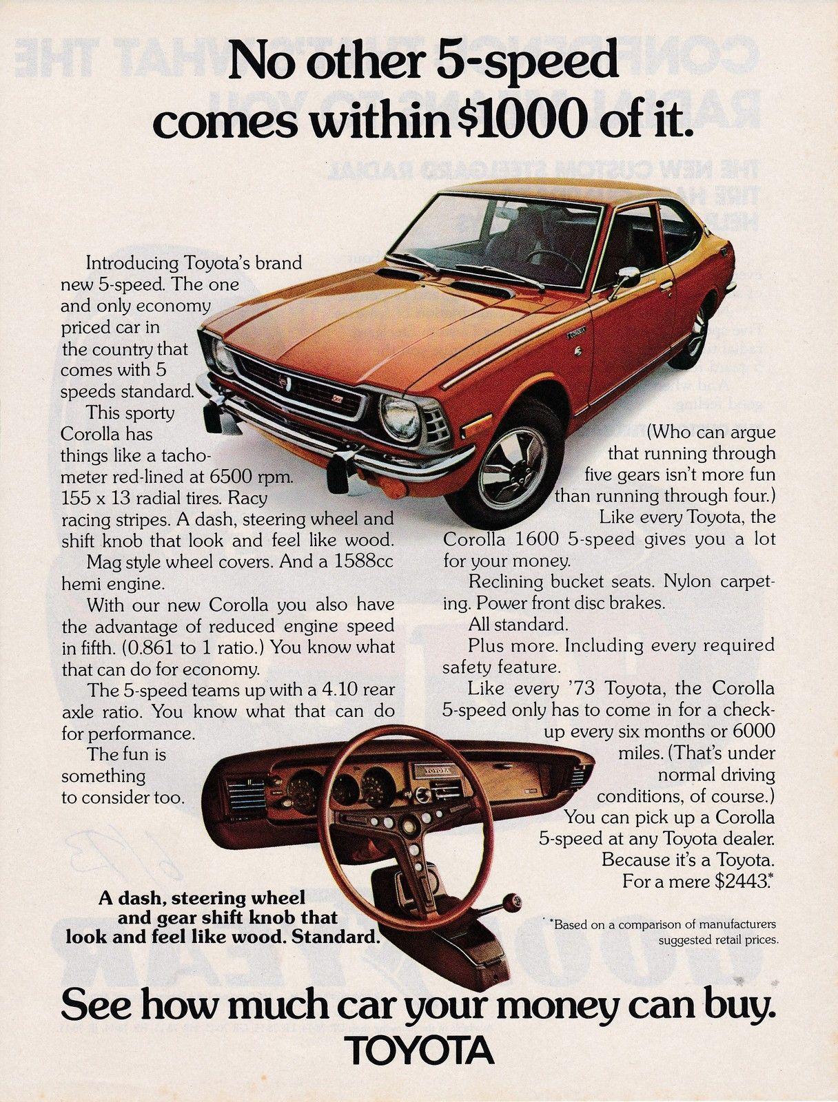 1973 Toyota Corolla 5 Speed Coupe Sharp 825x11 Inch Usa Magazine Land Cruiser Ebay 8 25x11 Advert