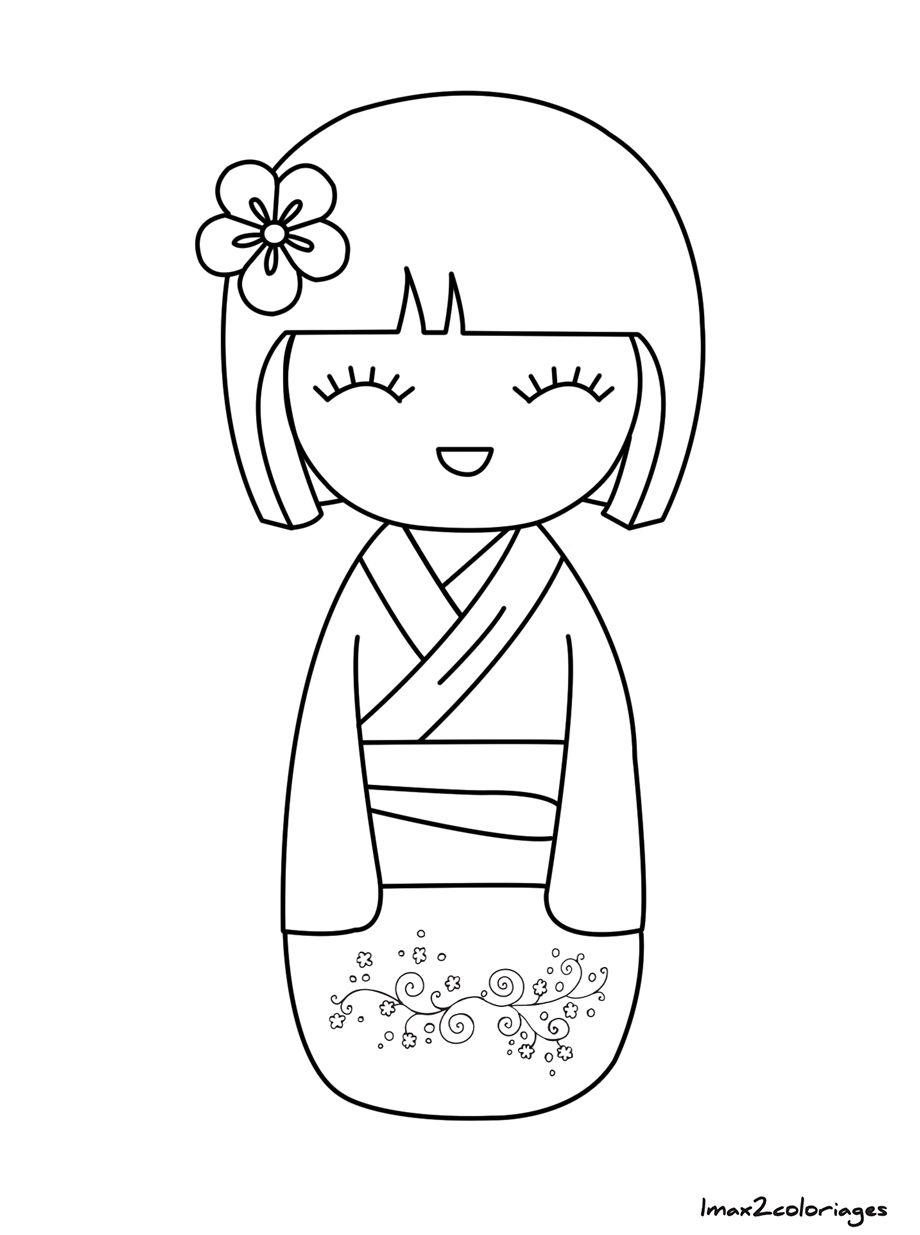 Coloriage Poupee Japonaise Numero 24 Anniversaire Kokeshi Poupee