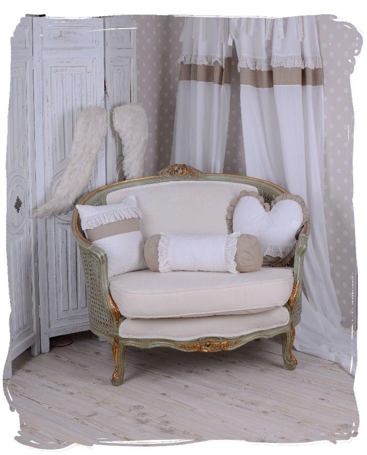 Rokoko Sofa Boudoir Couch Weiss Shabby Chic Sitzmöbel Polstersofa - schlafzimmerschrank landhausstil weiß