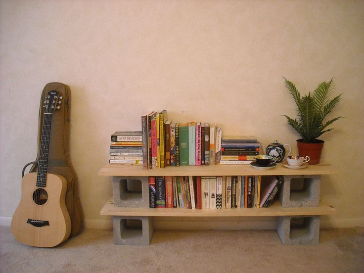 DIY shelf, wood and cinderblock