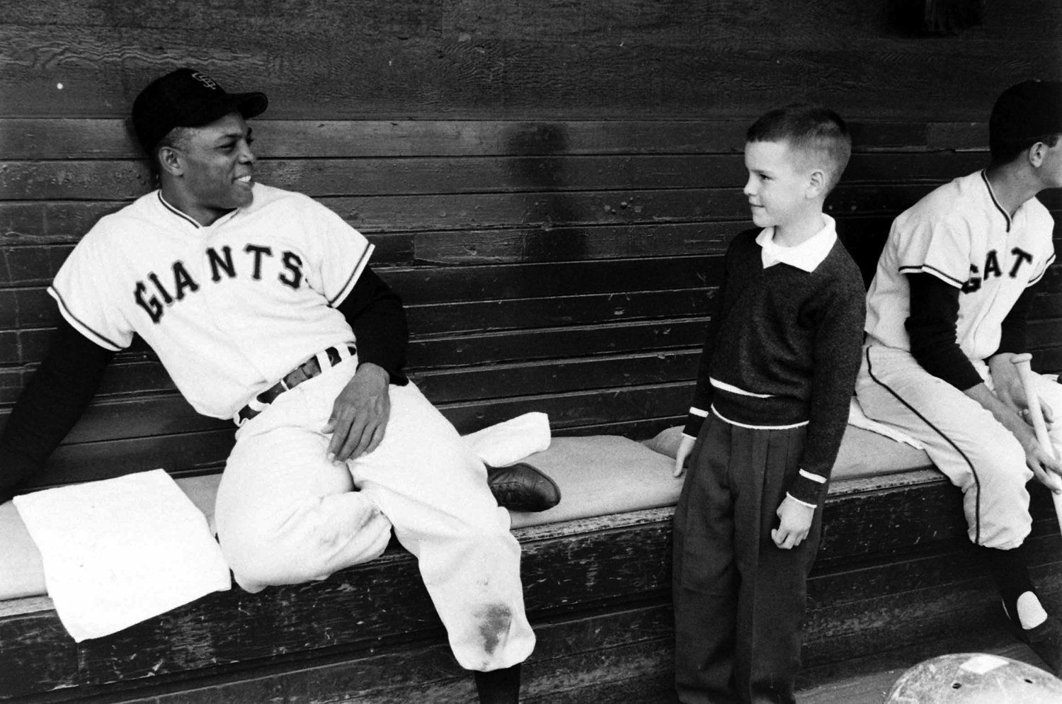 Willie Mays and young fan, San Francisco, 1958.