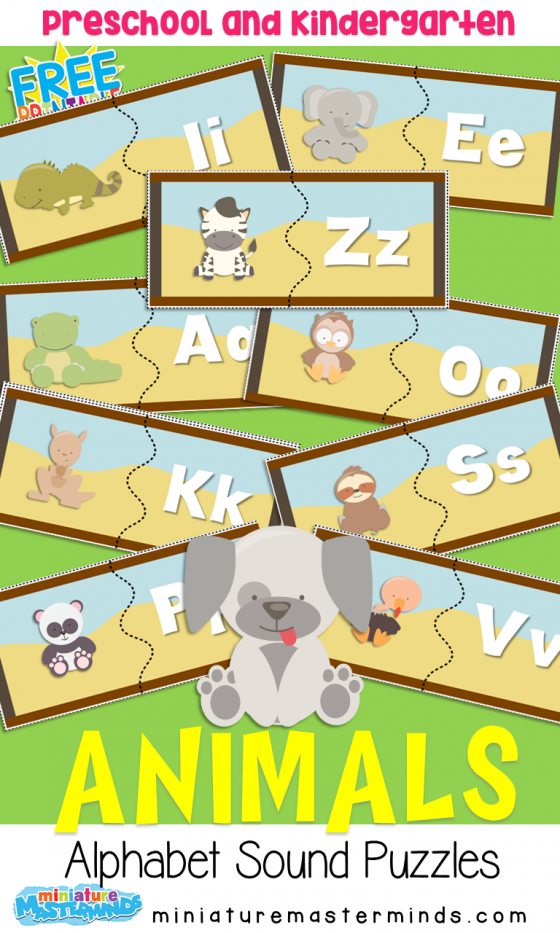 A to Z Animal Alphabet 2 Part Sound Matching Puzzles in