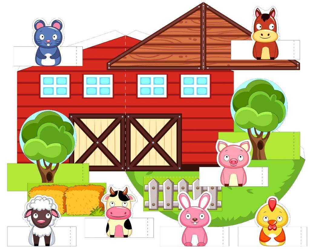 Printable 3d Farm Paper Farm For Children In