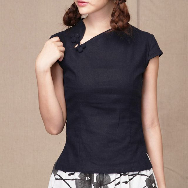 d2d44df2f Shanghai Story national chinese style top tradition chinese cheongsam top  traditional Chinese Top White Linen blouse Dark blue