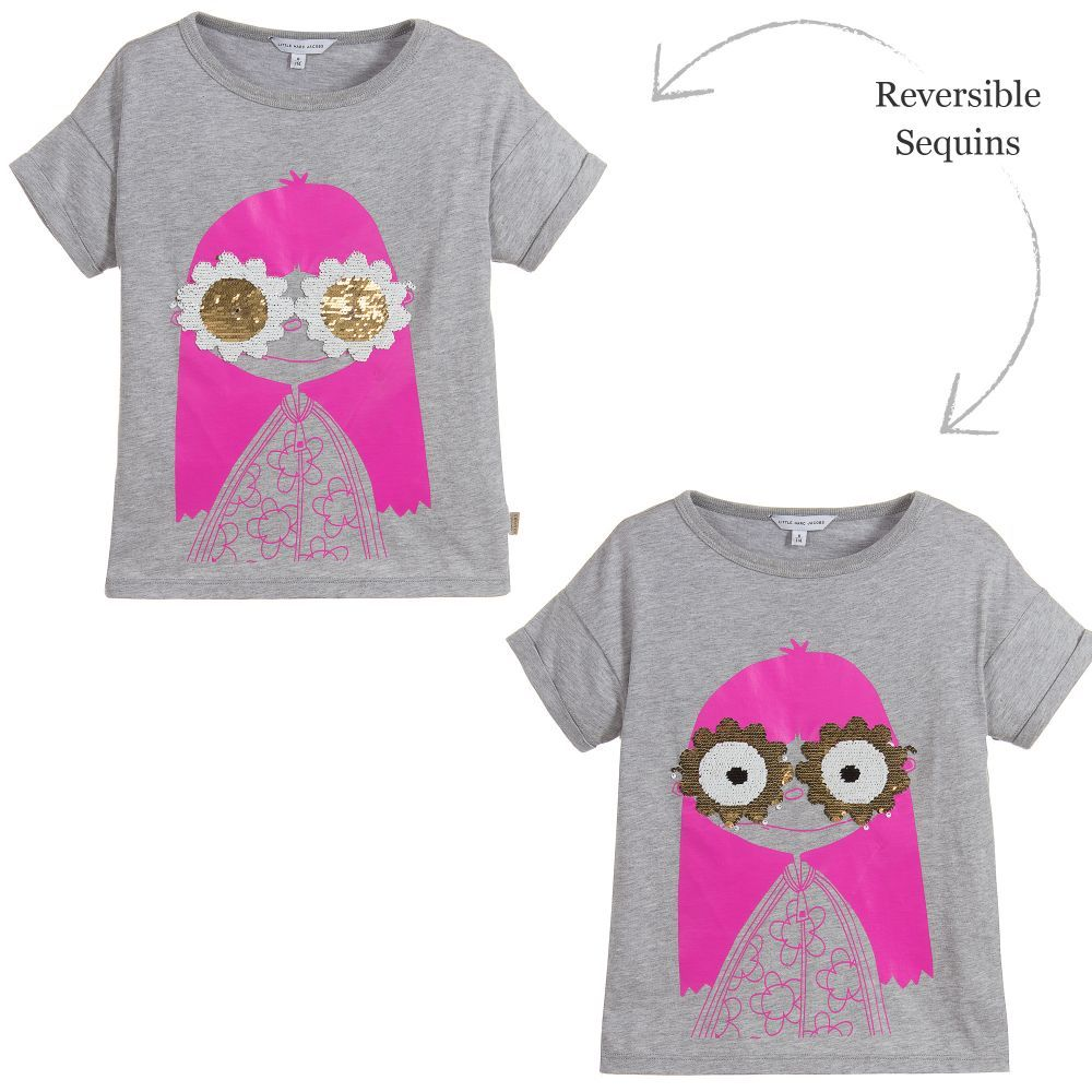 1a330f212c1 A grey modal and cotton blend T-shirt for girls by Little Marc Jacobs.