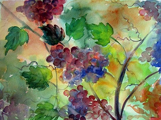 SOLD  Sun-kissed Grapes by Medy Bozkurtian Watercolor ~ 18 x 14 framed