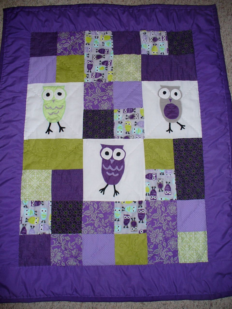 Purple Owl Nursery Etsy I Should Be Able To Make This Hopefully Fabricville Has Print Quilting Fabric