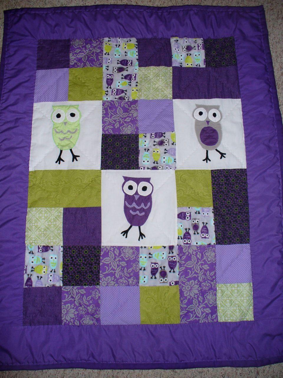 purple owl nursery - Etsy.com I should be able to make this ... : nursery quilt fabric - Adamdwight.com