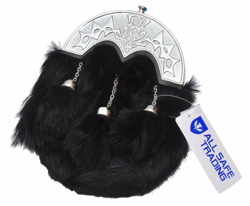 Details About Black Day Fur Sporran With 3 Fur Tassels Double Chain Kilt Belt Bagpipe Fly Kilt Belt Kilt Tartan Men