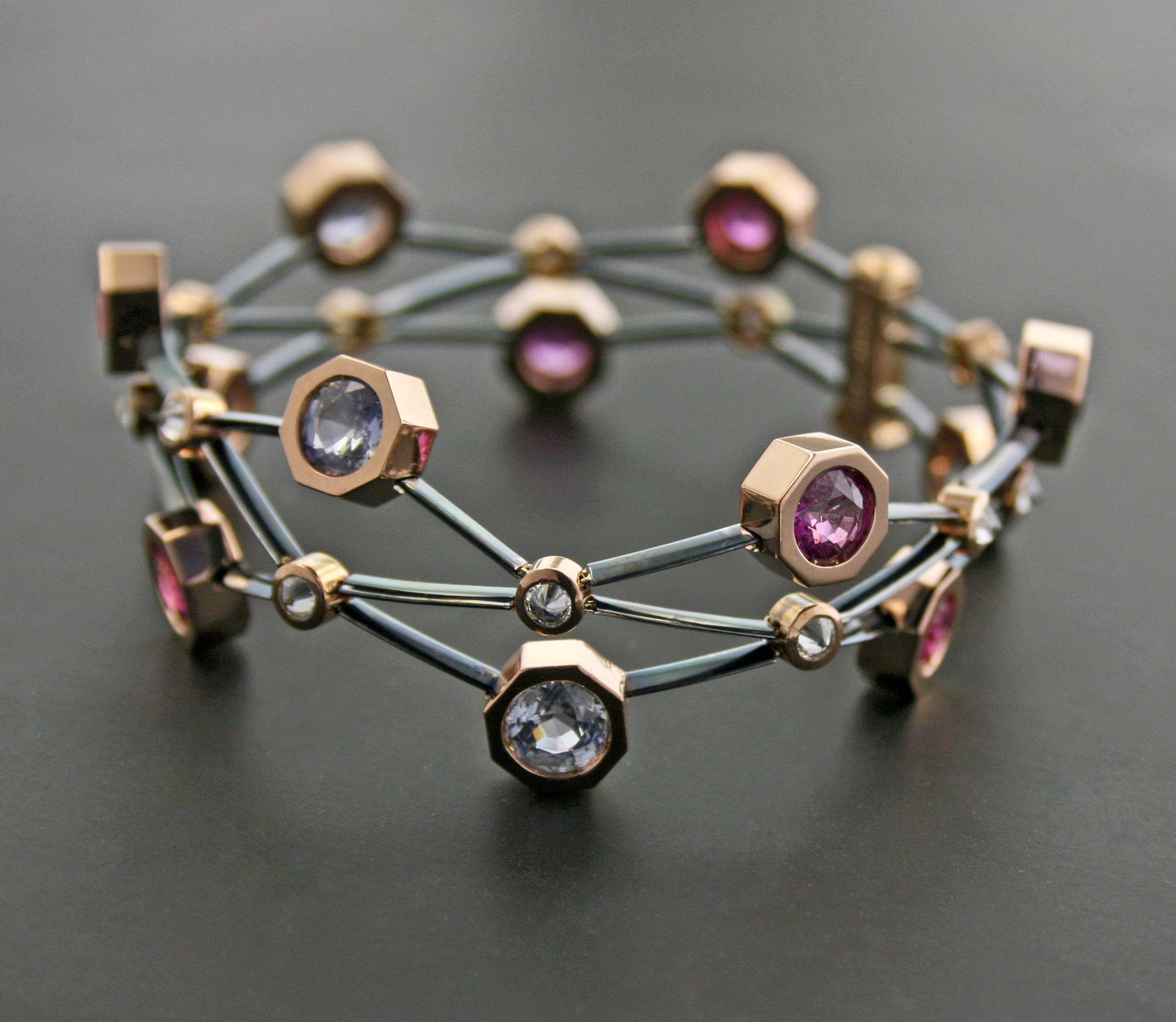 Brown Diamond Spinel Steel and 18K Rose Gold Bracelet by James de