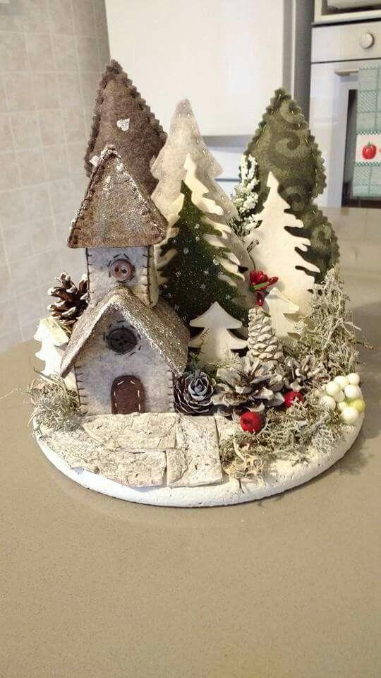 Decorazioni Natalizie In Feltro Pinterest.Christmas Church With Trees Craft Felt Natale Villaggi Di