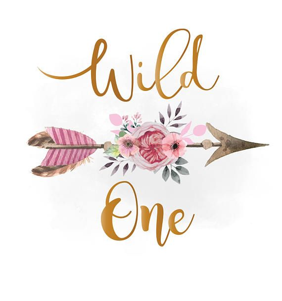 Wild one svg clipart, pink floral arrow Clipart, Boho ...