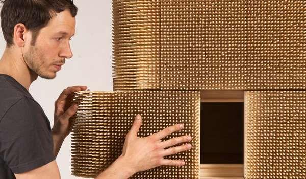 Sebastian Errazuriz's Magistral Cabinet is Perfect for Pinheads #bamboo #furniture trendhunter.com