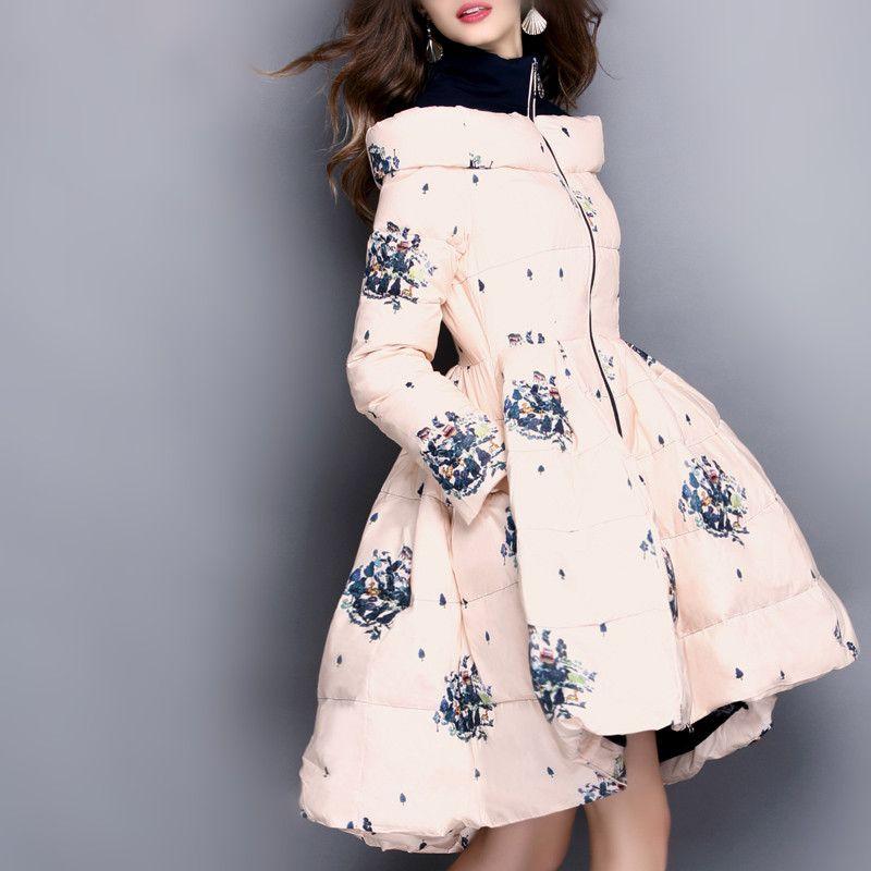 ac8f94766125 Корейская мода печатных средней длины юбка зимняя куртка 2017, женская  обувь теплые тонкий утка Пух пальто Для женщин S-XXXL