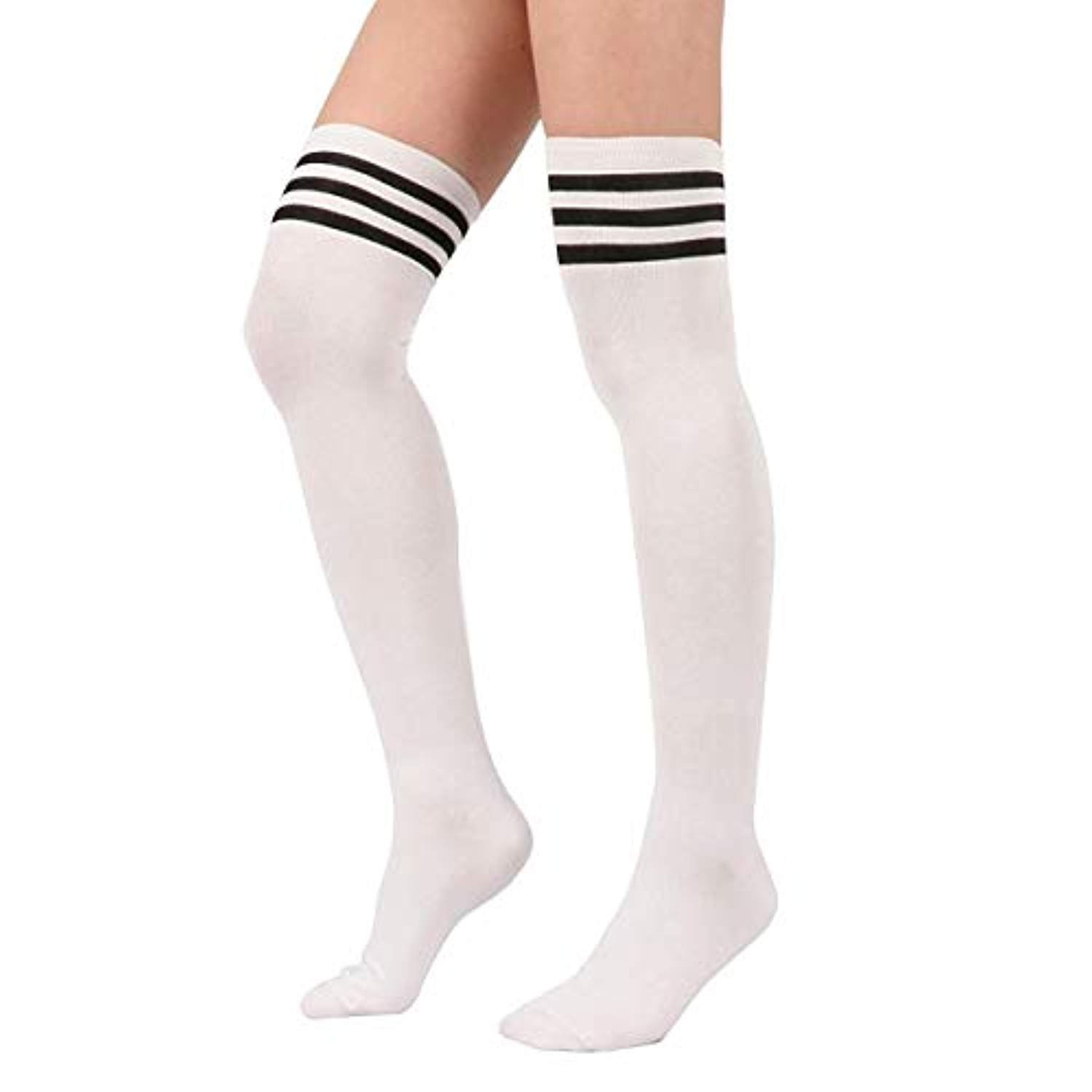 2c8cf8831a6 Womens Striped Knee High Socks Cotton Athletic Over the Knee Tube Socks  Thigh High Stockings    Check out this great product. (This is an affiliate  link)   ...