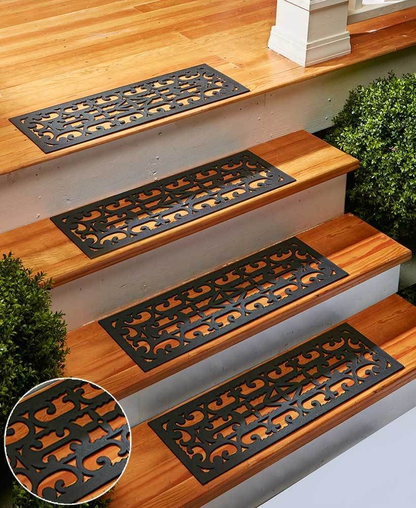 Set Of 4 Scrolled Rubber Stair Step Treads Mats Scroll Outdoor   Outdoor Stair Treads For Ice   Non Slip   Carpet Stair   Blue Ice   Anti Slip Stair Nosing   Rubber Stair