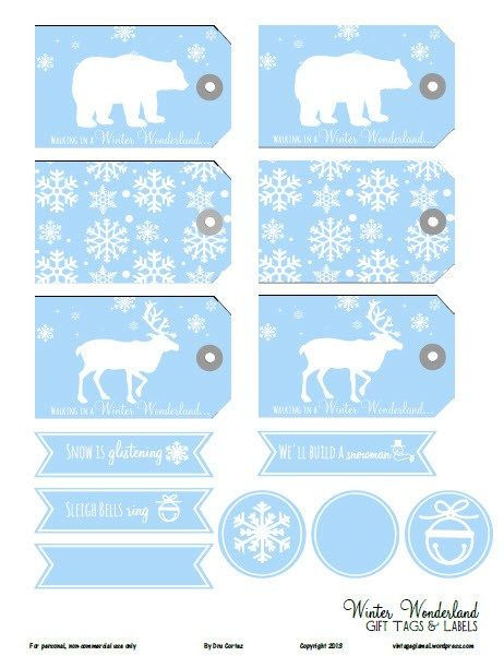 Free Printable Download Winter Wonderland Gift Tags Christmas