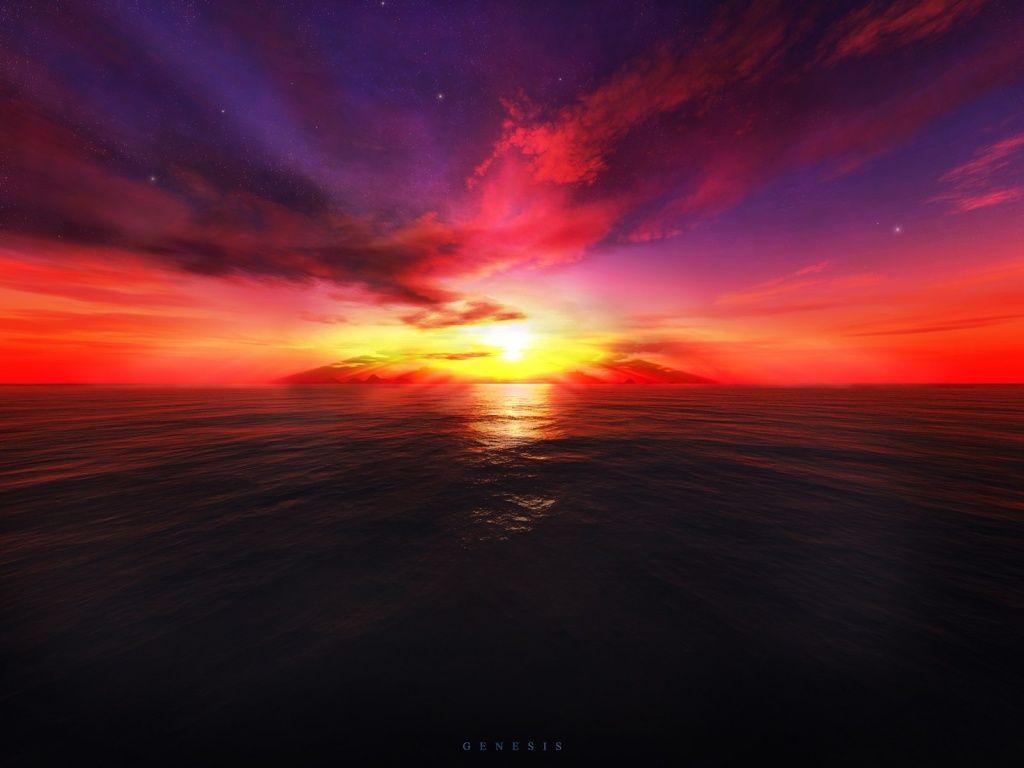 1024x768 3D Sunset(이미지 포함) 하늘