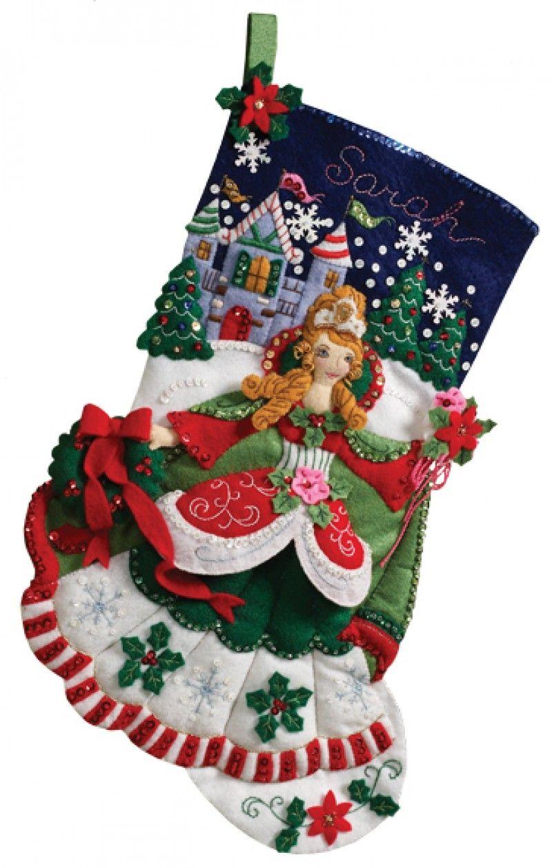 Christmas Stockings Kits.Bucilla Felt Applique Christmas Stocking Kit Princess