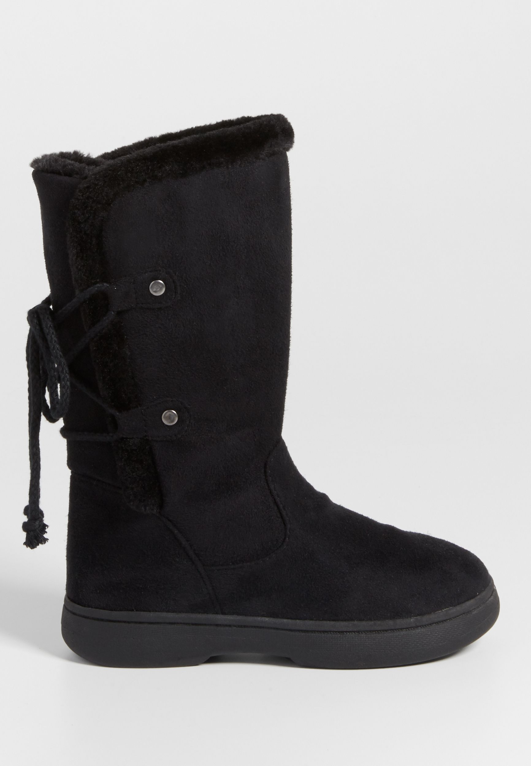 c12fc2b15 Nina faux suede boot with faux fur lining and lace up back in black ...
