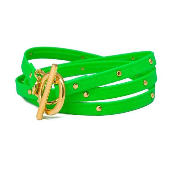 neon green leather strap bracelet
