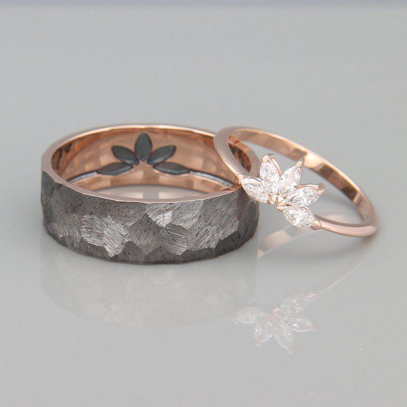 14k Rose Gold Marquise Diamonds Wedding Ring Solid 14k Rose Etsy Marquise Wedding Ring Diamond Wedding Rings Sets Diamond Wedding Bands