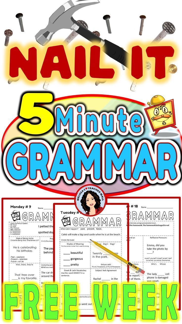 5 Minute Grammar Daily Grammar Worksheets 5th GRADE Practice and ...