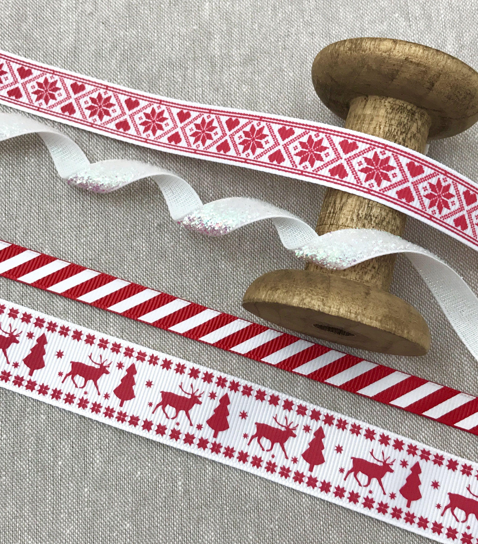 Scandinavian Christmas Ribbon Red And White Nordic Trim Etsy Christmas Ribbon Scandinavian Christmas Gift Ribbon