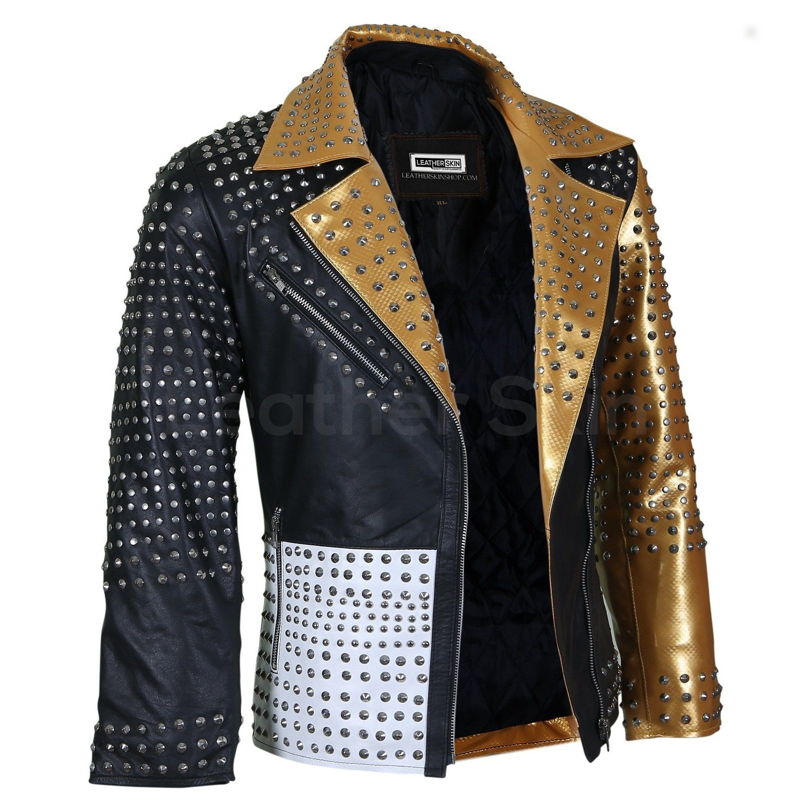 Women Black And Gold Leather Jacket With Cone Spikes Leather Jacket Spiked Leather Jacket Gold Leather [ 1669 x 1669 Pixel ]