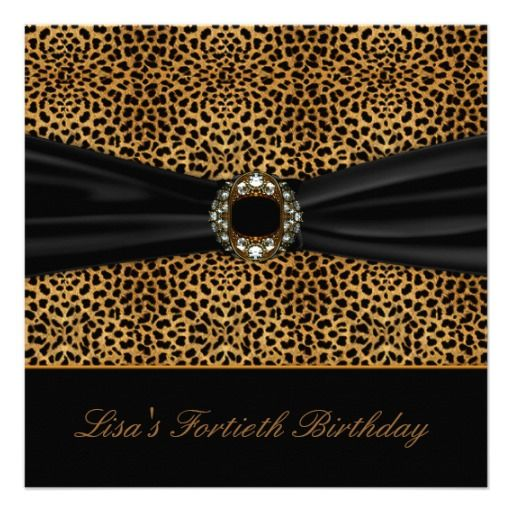 Luxurious Leopard Womans 40th Birthday Party Invitation Rockabilly