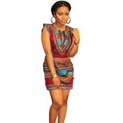 Ularma Women Summer Casual Sleeveless Traditional African Print Party Dress