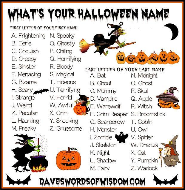 Daveswordsofwisdom Com What S Your Halloween Name