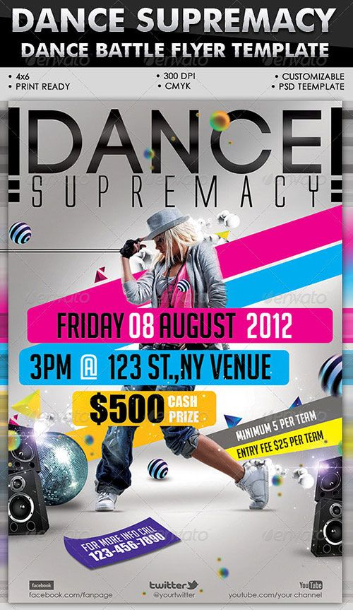 Urban dance party club flyer poster template free club party psd ...