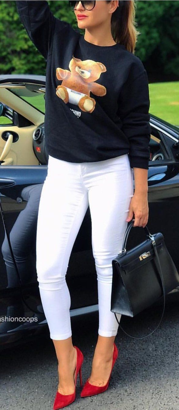 #fall #outfits women's white skinny jeans