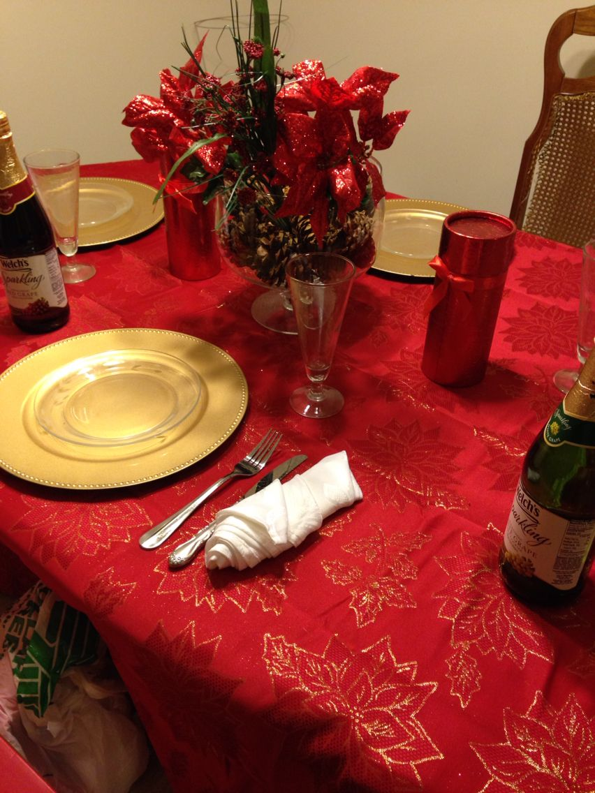 Christmas table. Purchased everything from the $1 store. Table cloth came from the Christmas tree shop $14.
