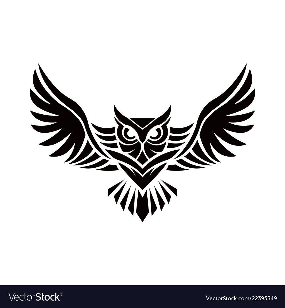 Owl Logo Emblem Design On W Vector Image On Vectorstock Owl Tattoo Small Owl Logo Owl Tattoo Drawings