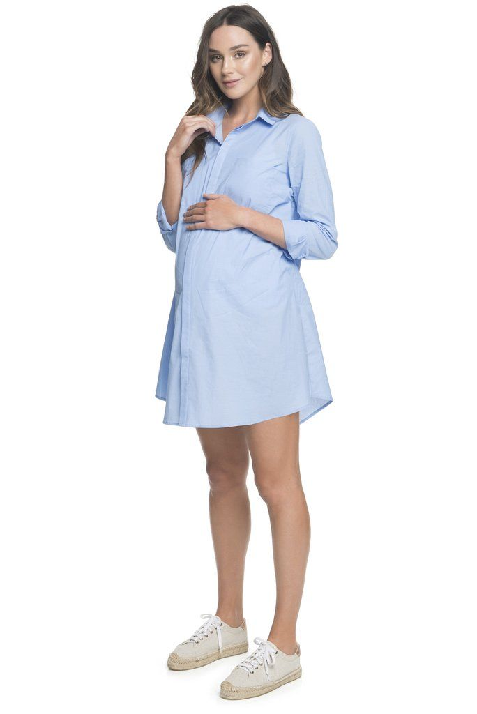 Blue Maternity Dress 'Forever Young Shirtdress' BAE The Label